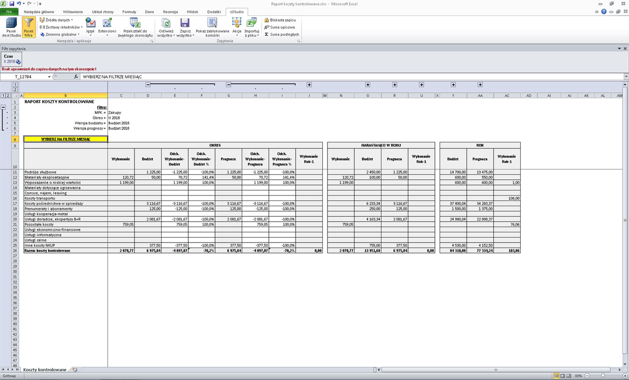 budżetowanie xlStudio CONSORG controlling raportowanie